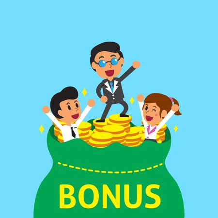 wage: Cartoon business team with bonus money bag Illustration
