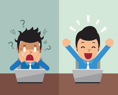 Cartoon uomo d'affari che esprimono diverse emozioni