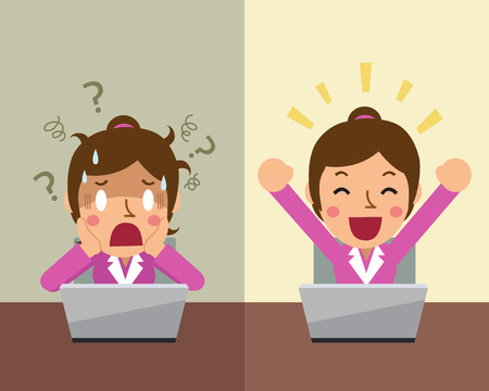 zakenvrouw Cartoon die verschillende emoties Stock Illustratie