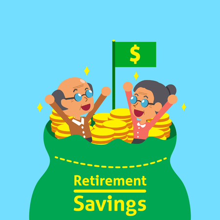 Cartoon senior people with retirement savings bag Ilustração