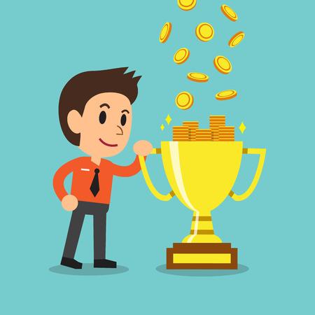 earning: Cartoon businessman earning money with trophy Illustration