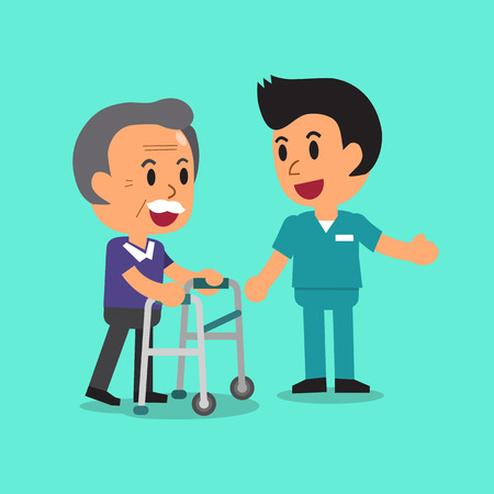 Cartoon senior man walking with paddle walker and male nurse