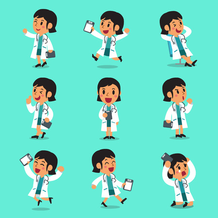 Cartoon female doctor character poses Illustration