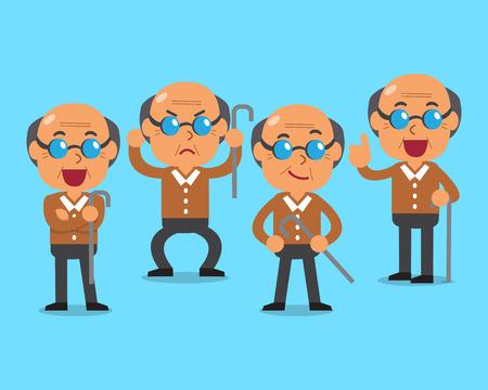 character poses: Cartoon old man character poses