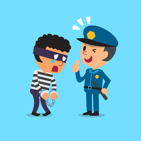 cartoon human: Cartoon policeman and thief