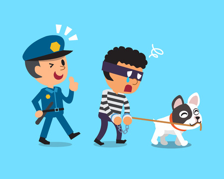 rogue: Cartoon dog and policeman catching thief