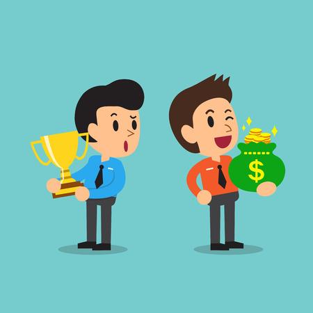 Empresario de dibujos animados sosteniendo el trofeo y hombre de negocios la celebración de bolsa de dinero Ilustración de vector
