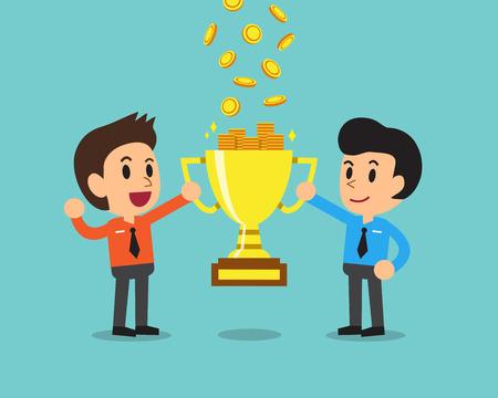 trofeo: equipo de negocios de dibujos animados a ganar dinero con el trofeo Vectores