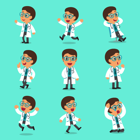 Cartoon male doctor character poses