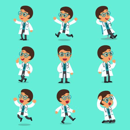 medico caricatura: Dibujos animados poses de carácter médico masculino Vectores