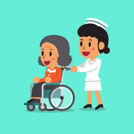 Cartoon senior woman in wheelchair with nurse