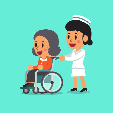 enfermera caricatura: Mujer mayor de dibujos animados en silla de ruedas con la enfermera