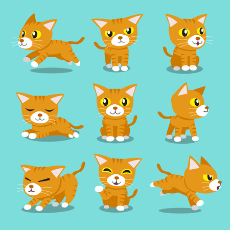 Cartoon character orange cat poses Иллюстрация