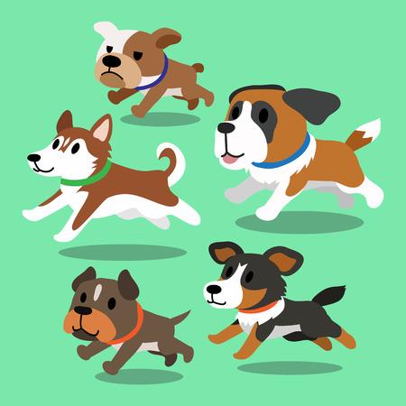 Cartoon dogs running Vectores