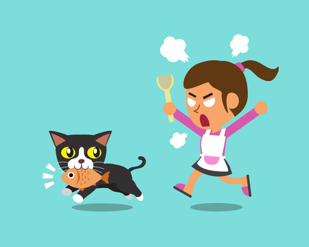 stealing: Cartoon cat stealing fish from woman Illustration