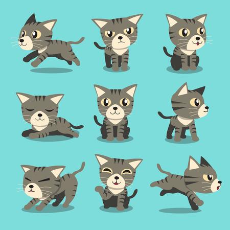 personnage de dessin animé chat tigré gris poses de chat