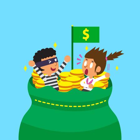 Cartoon businesswoman and thief with big money bag Ilustração Vetorial