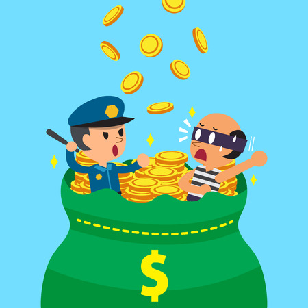 rogue: Cartoon policeman and thief with big money bag Illustration