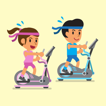 exercise equipment: Cartoon a man and a woman exercising on elliptical machines