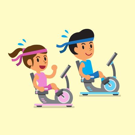 girl bike: Cartoon a man and a woman riding recumbent exercise bikes