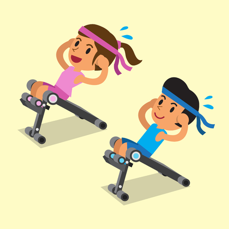 Cartoon a man and a woman using sit up bench Illustration