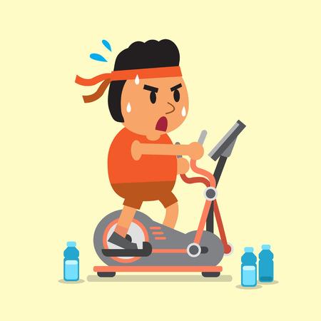 tren caricatura: De dibujos animados hombre gordo que ejercita en la máquina elíptica