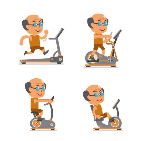 viejo hombre de dibujos animados con máquinas de ejercicio