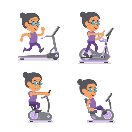 woman running: Cartoon old woman with exercise machines Illustration