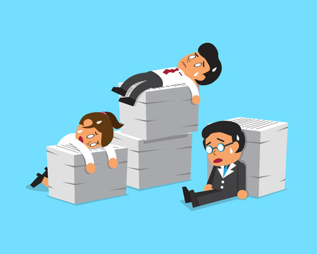 Cartoon business team with a lot of work Illustration