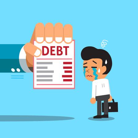debt management: Cartoon businessman and debt letter