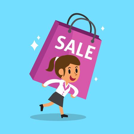 gadget: Cartoon businesswoman carrying big shopping bag Illustration