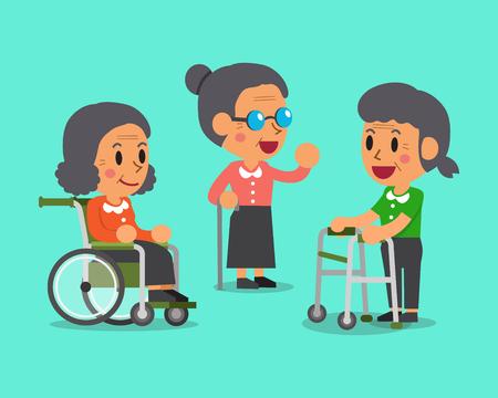 Cartoon senior women