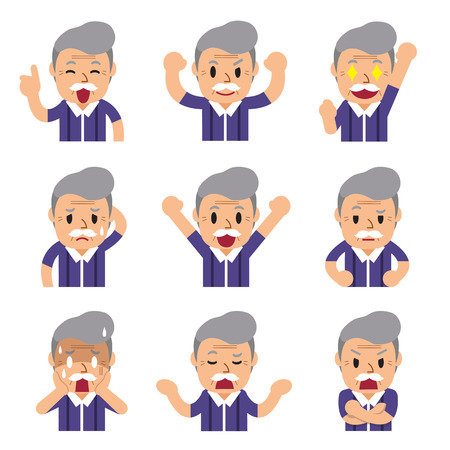 emotion faces: Cartoon a senior man faces showing different emotions