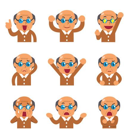 Cartoon senior man faces showing different emotions