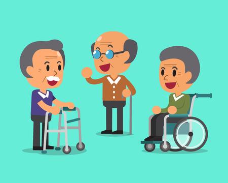 Cartoon senior men