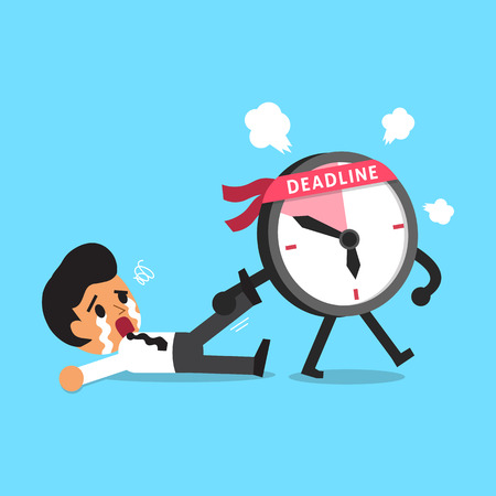 cartoon clock: Cartoon deadline clock character dragging businessman Illustration