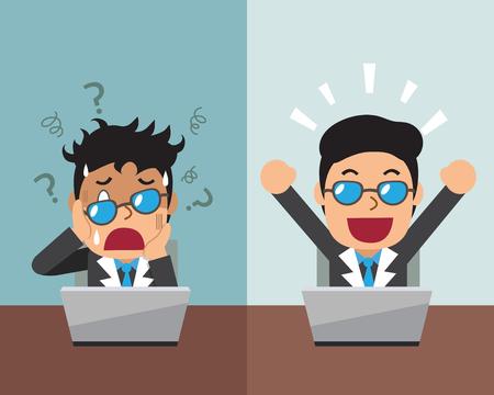 expressing: Cartoon businessman expressing different emotions