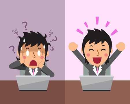Cartoon businesswoman expressing different emotions
