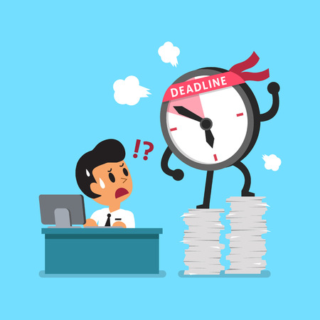 cartoon clock: Cartoon deadline clock character and businessman