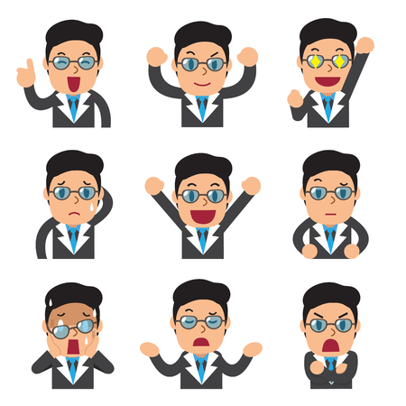Set of businessman faces showing different emotions