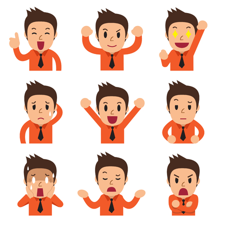 homme triste: Cartoon homme d'affaires fait face montrant différentes émotions