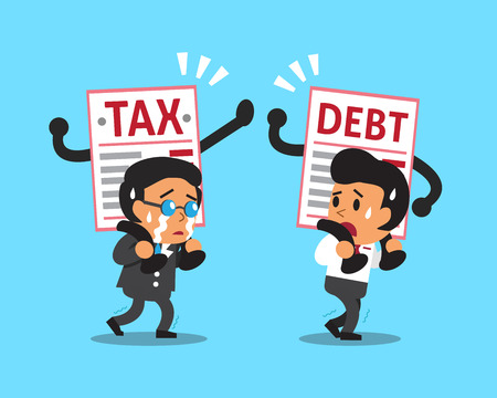 notice: Cartoon business people with debt and tax letter Illustration