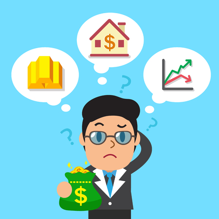 investing: Cartoon businessman holding money bag with different investing options