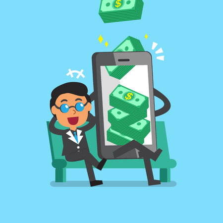 earn money: Business concept cartoon smartphone help businessman to earn money stack
