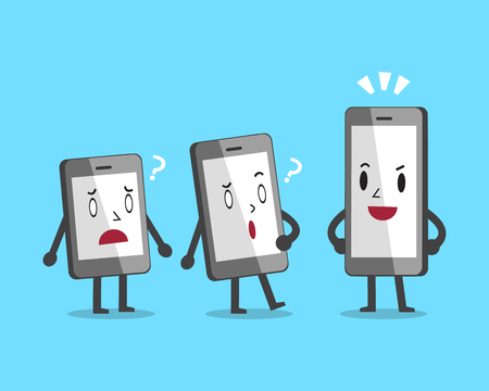 sized: Cartoon different sized smartphones