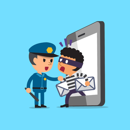 stealing: Cartoon thief stealing mails from smartphone and policeman