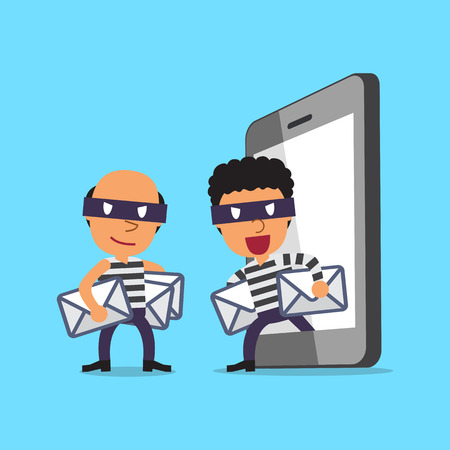 thieves: Cartoon thieves stealing mails from smartphone Illustration