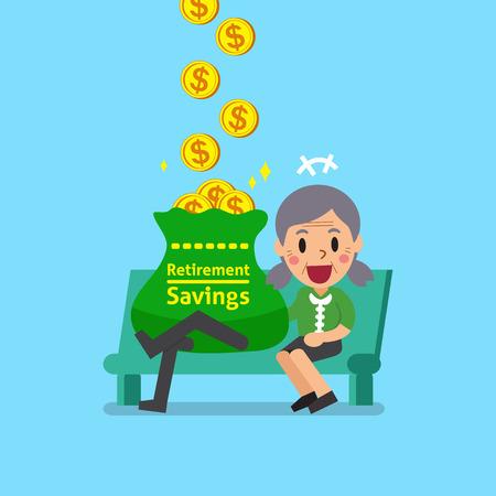 漫画年配の女性をお金を稼ぐ