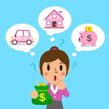 investing: Businesswoman holding money bag with different investing options