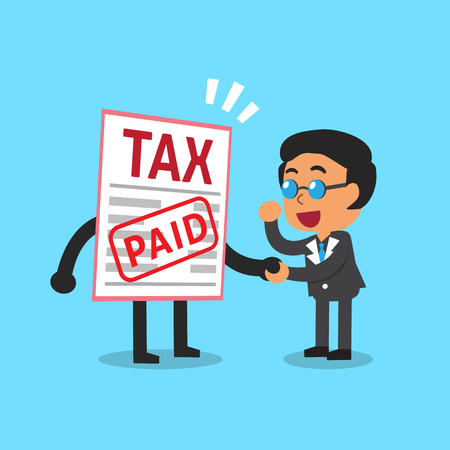 paid: Cartoon a businessman paid tax Illustration